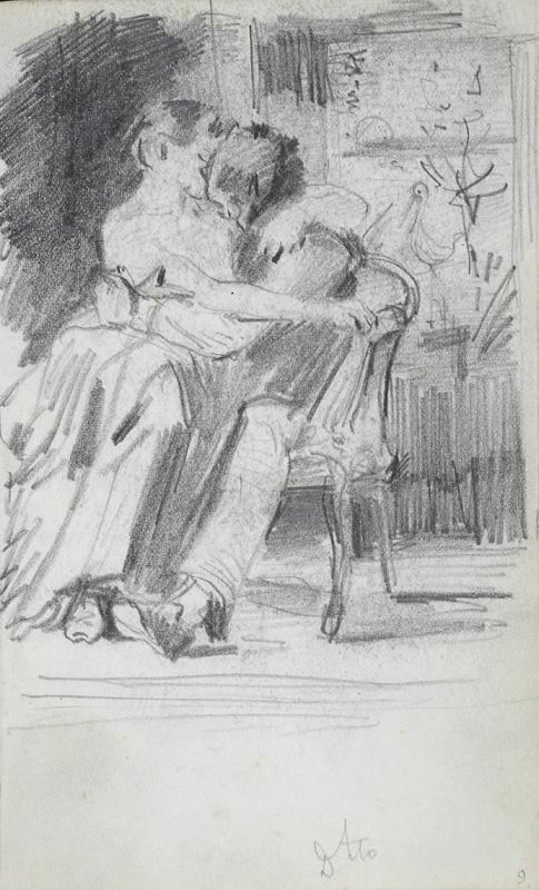 Станіслав Батовський-Качор. Пара в любовних обіймах в кріслі; олівець, папір; 16,1 x 10,4