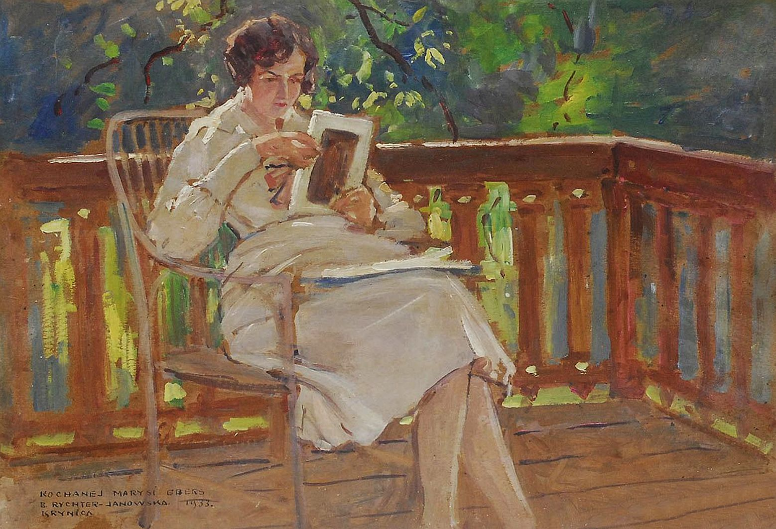 Броніслава Яновська. Жінка на терасі, 1933; картон, олія