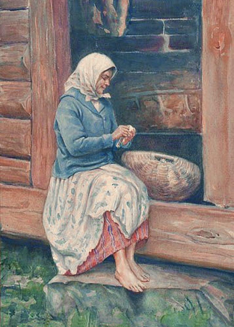 Ян Казімеж Ольпінський. Чищення картоплі, 1931; папір акварель