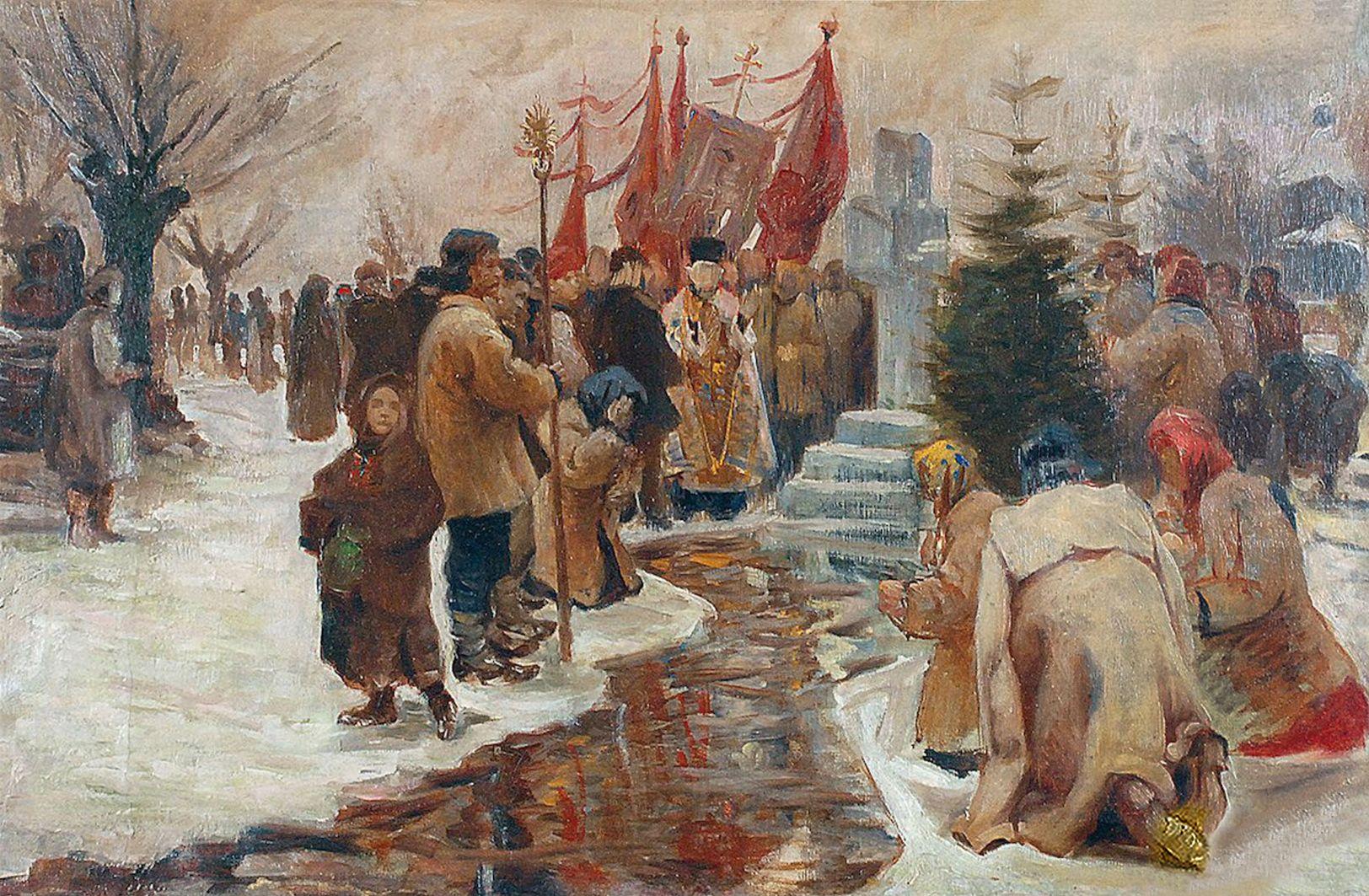 Ян Казімеж Ольпінський. Свято Йордан, 1901; полотно, олія