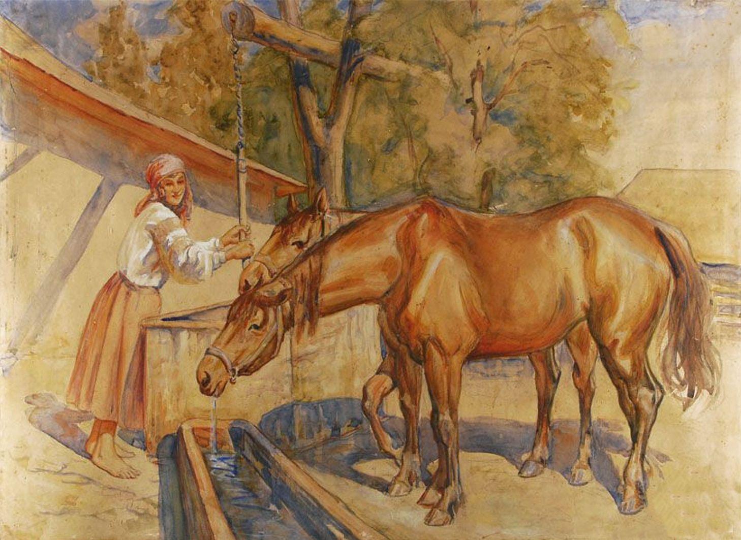 Ян Казімеж Ольпінський. Кінь на водопої, 1925; папір, акварель
