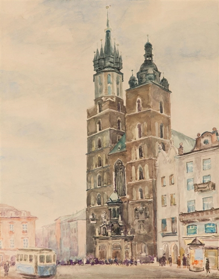 Владислав Яроцький. Маріацький костел в Кракові; папір, акварель; 48,5 x 39