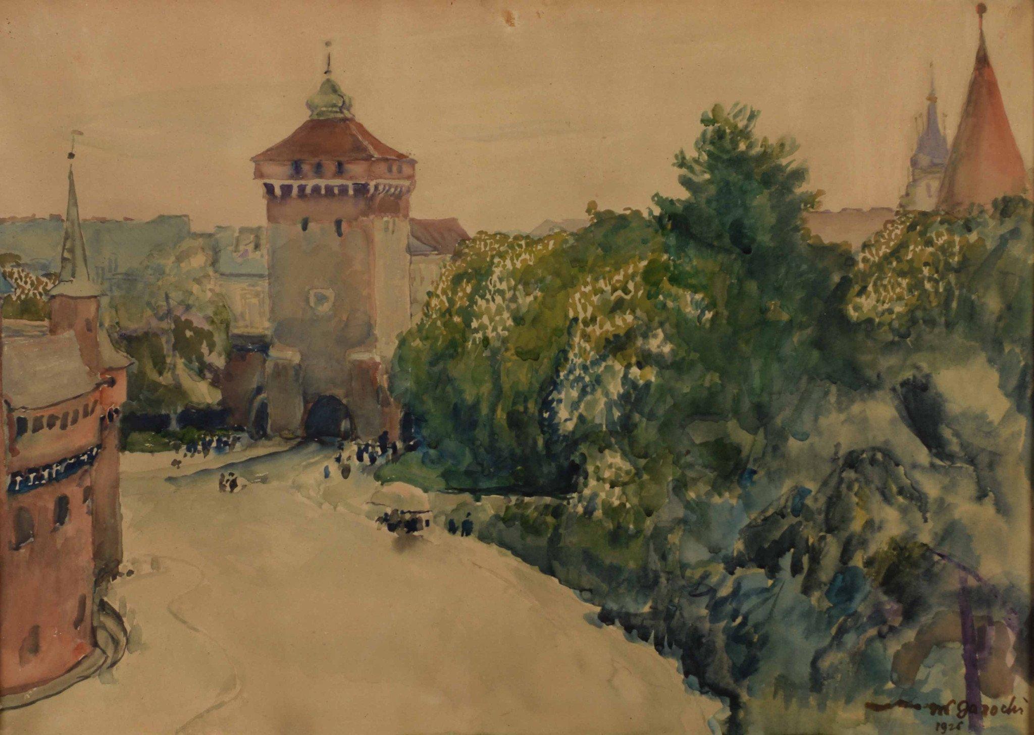 Владислав Яроцький. Барбакан, 1926; папір, акварель; 50 x 70