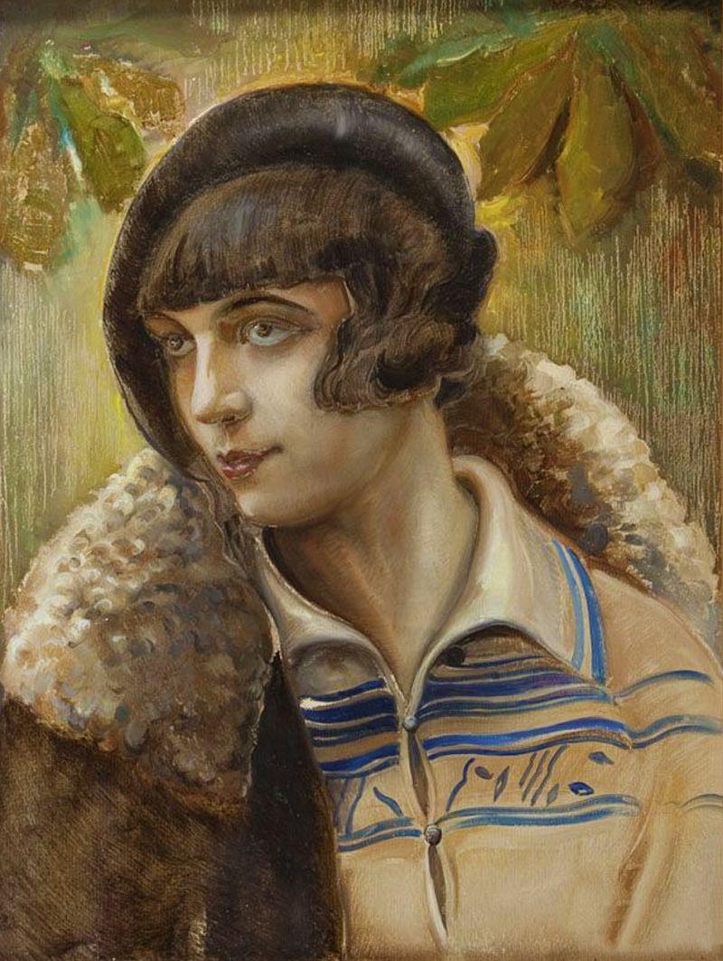 Юзеф Кідонь. Портрет жінки; картон, олія