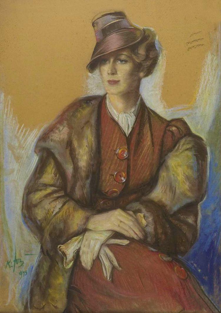 Юзеф Кідонь. Портрет молодої жінки, 1943; картон, пастель