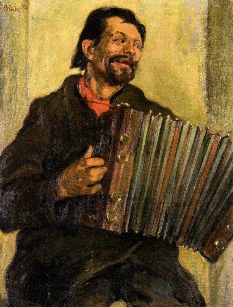 Володимир Блоцький. Гармоніст, 1909; олія, полотно; NMWr