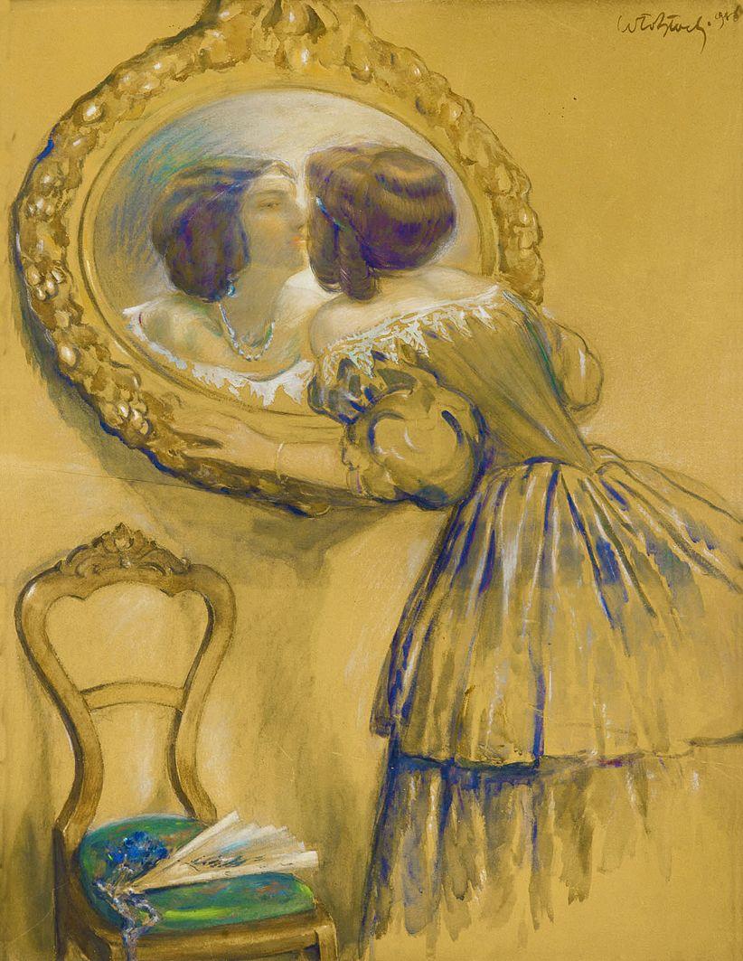 Володимир Блоцький. Перед дзеркалом, 1916; папір, акварель, гуаш