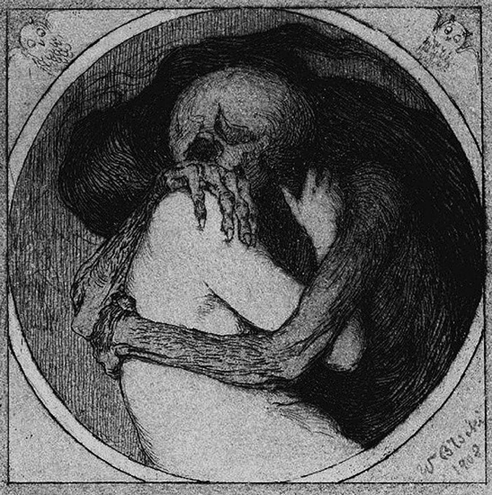 Володимир Блоцький. Поцілунок смерти, 1908; офорт