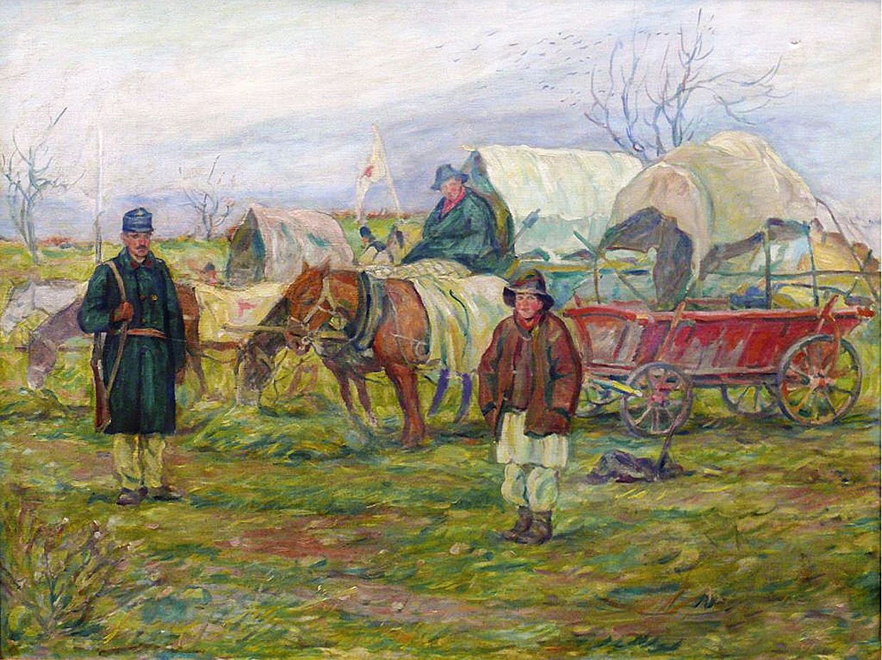 Володимир Блоцький. Санчастина австрійської армії, 1915; олія, полотно