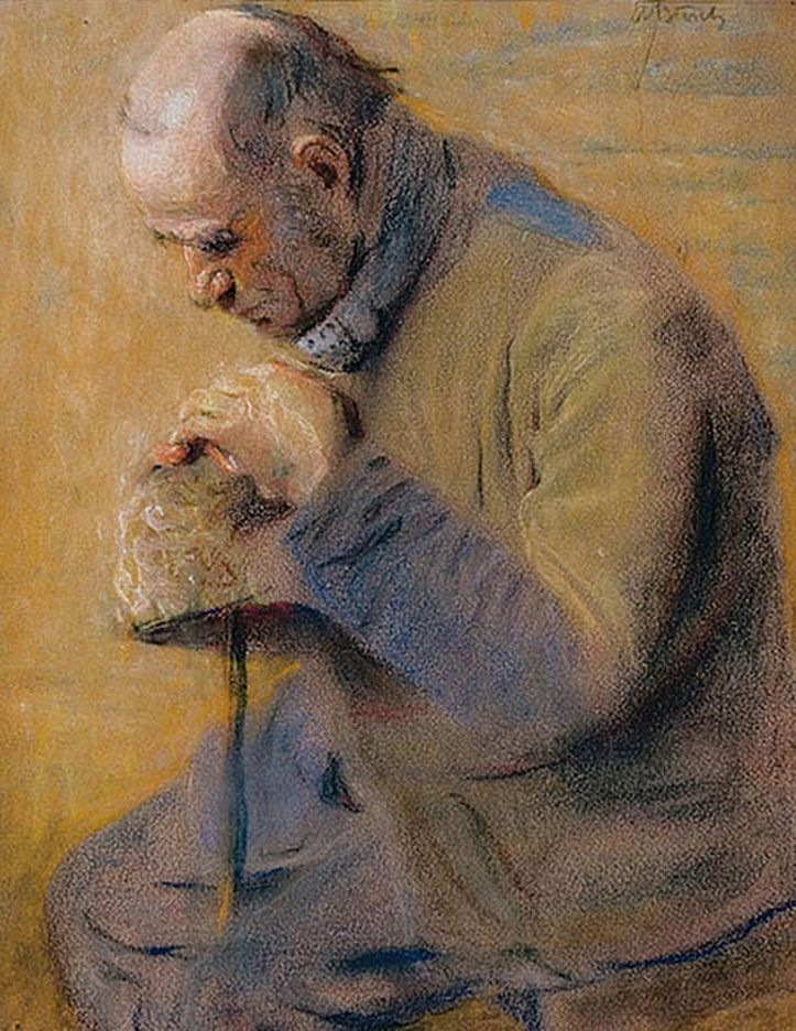 Володимир Блоцький. Старий, що замислився, 1910; пастель, папір