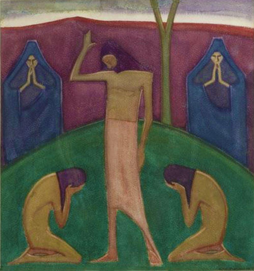 Анджей Пронашко. Христос і плакальниці, 1913; картон, акварель, гуаш