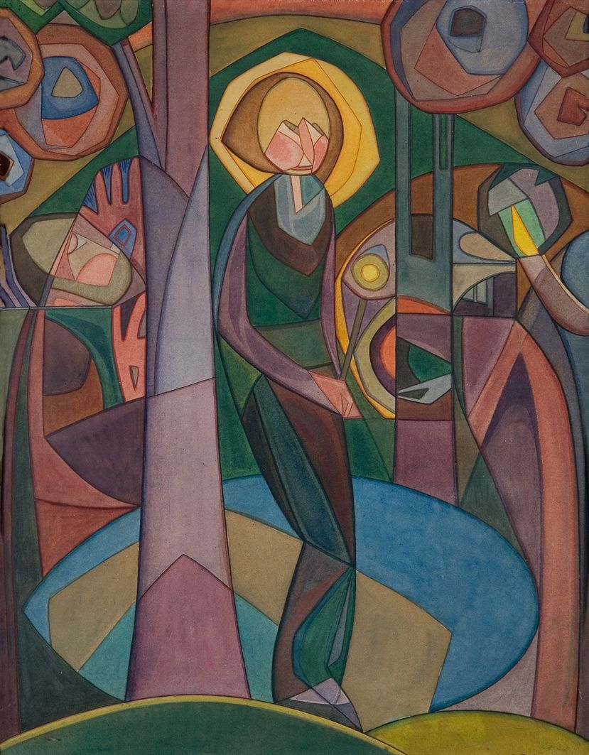 Анджей Пронашко. Монах, 1917; папір, гуаш; музей в Лодзі