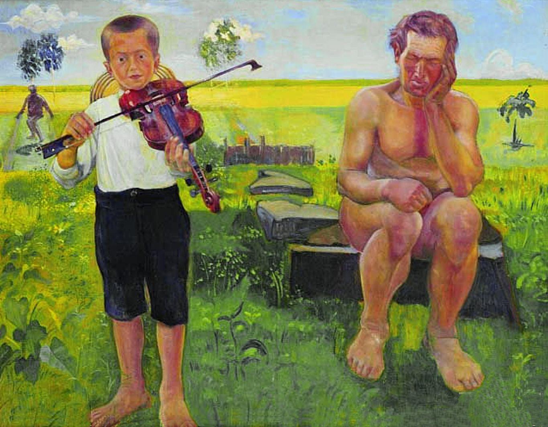 Анджей Пронашко. Символістська композиція, 1909; фанера, олія