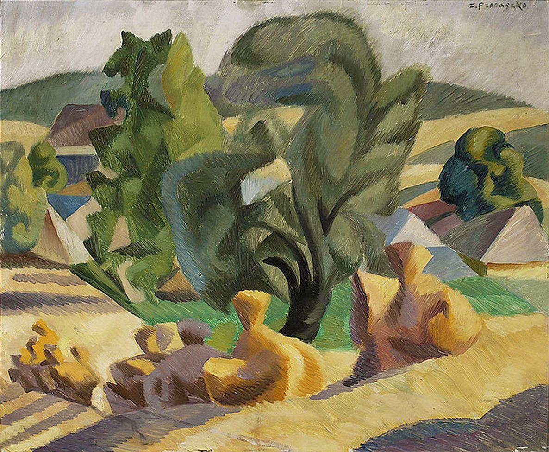 Збігнєв Пронашко. Пейзаж з копицями, 1922; картон, олія NMW