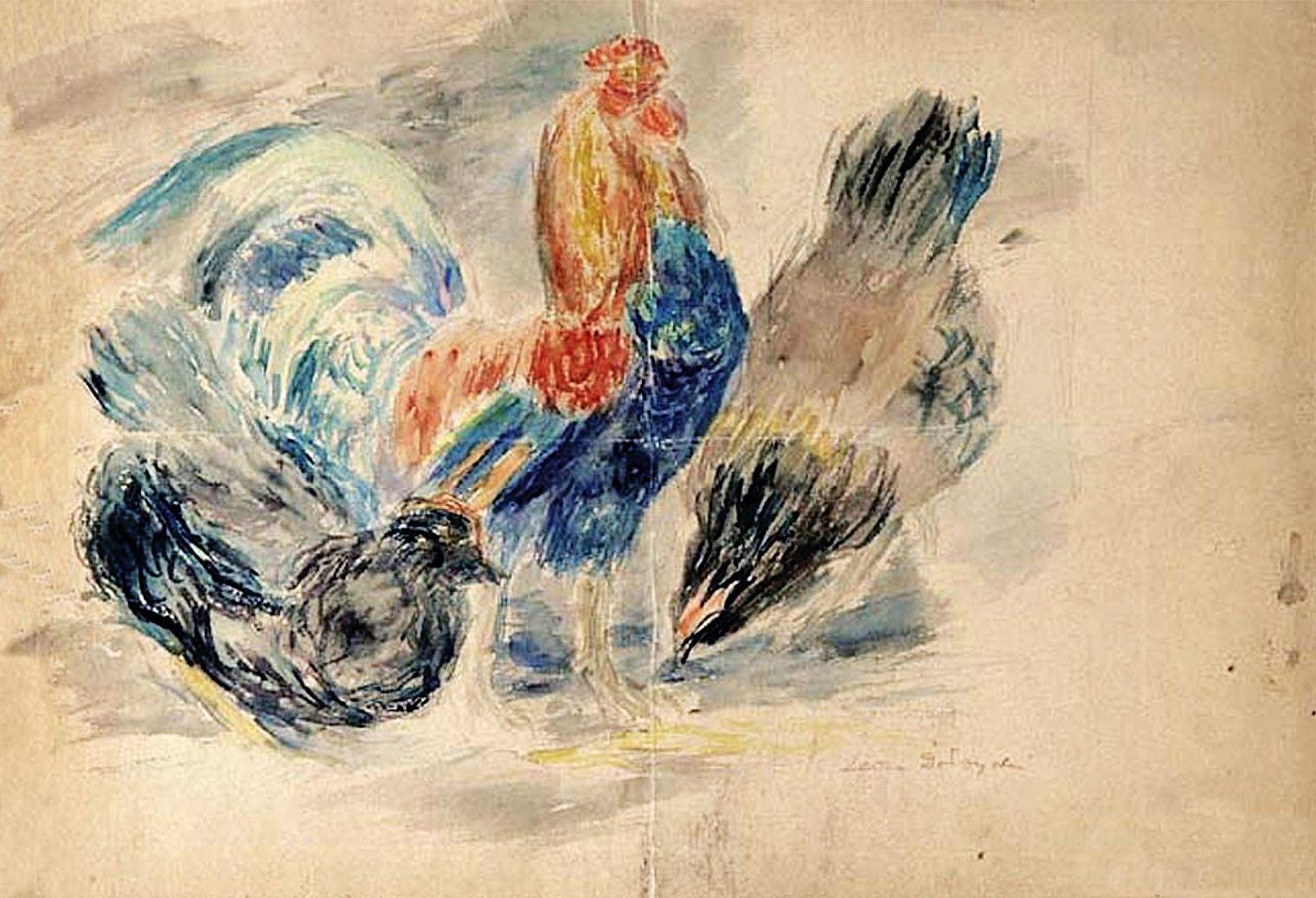 Леон Должицький. Курки, 1948; папір, акварель
