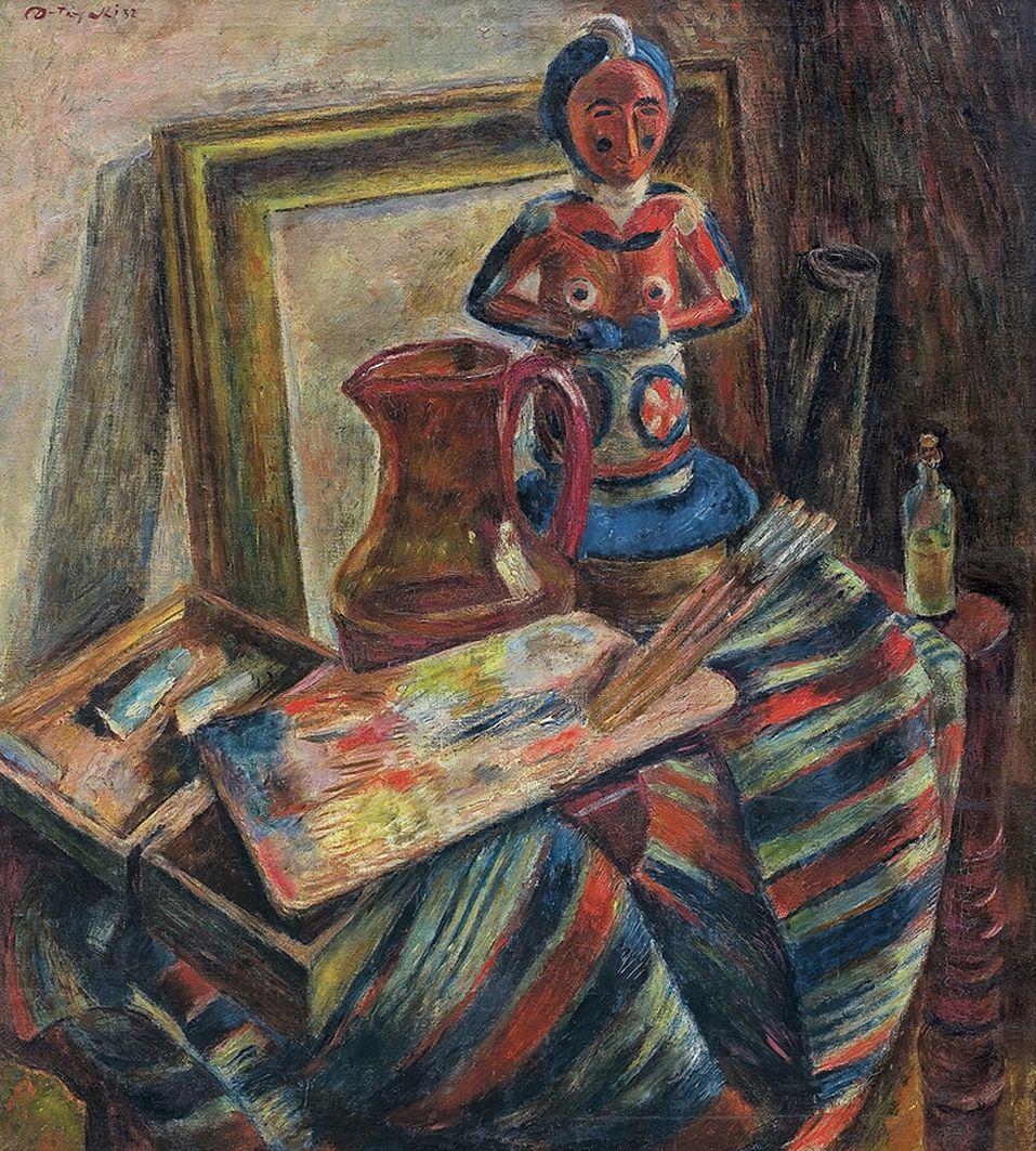 Леон Должицький. Натюрморт в студії, 1932; олія, холст