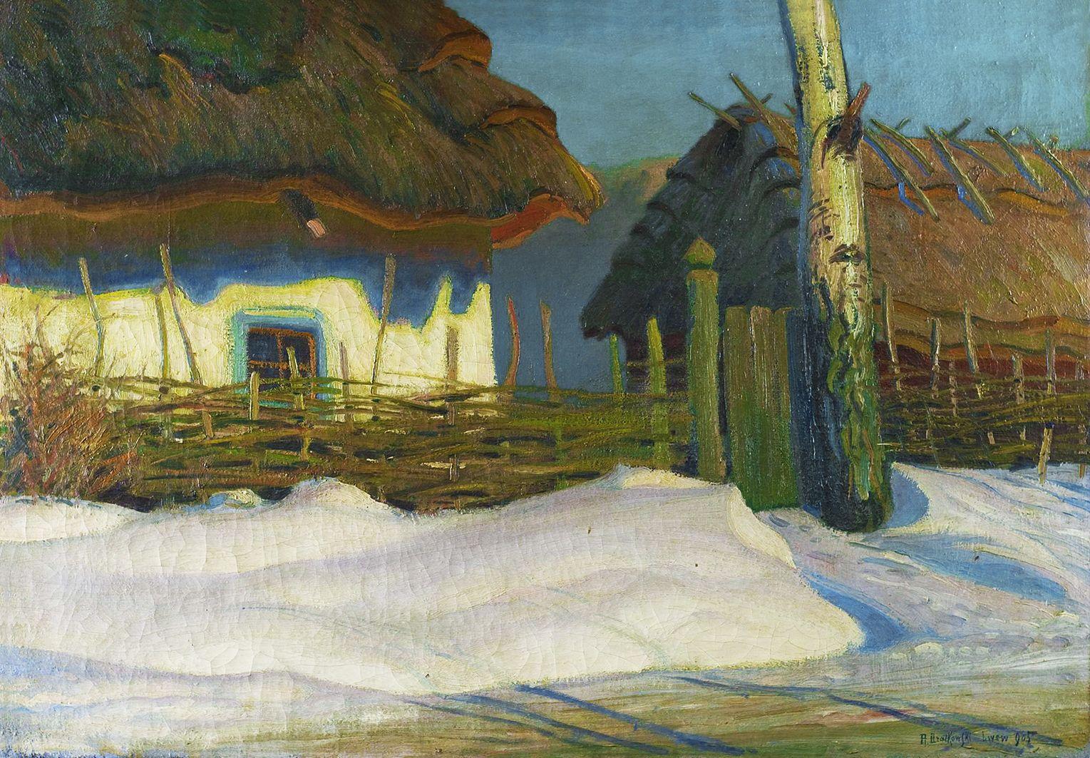 Роман Братковський. Зимовий пейзаж, 1905; олія, полотно
