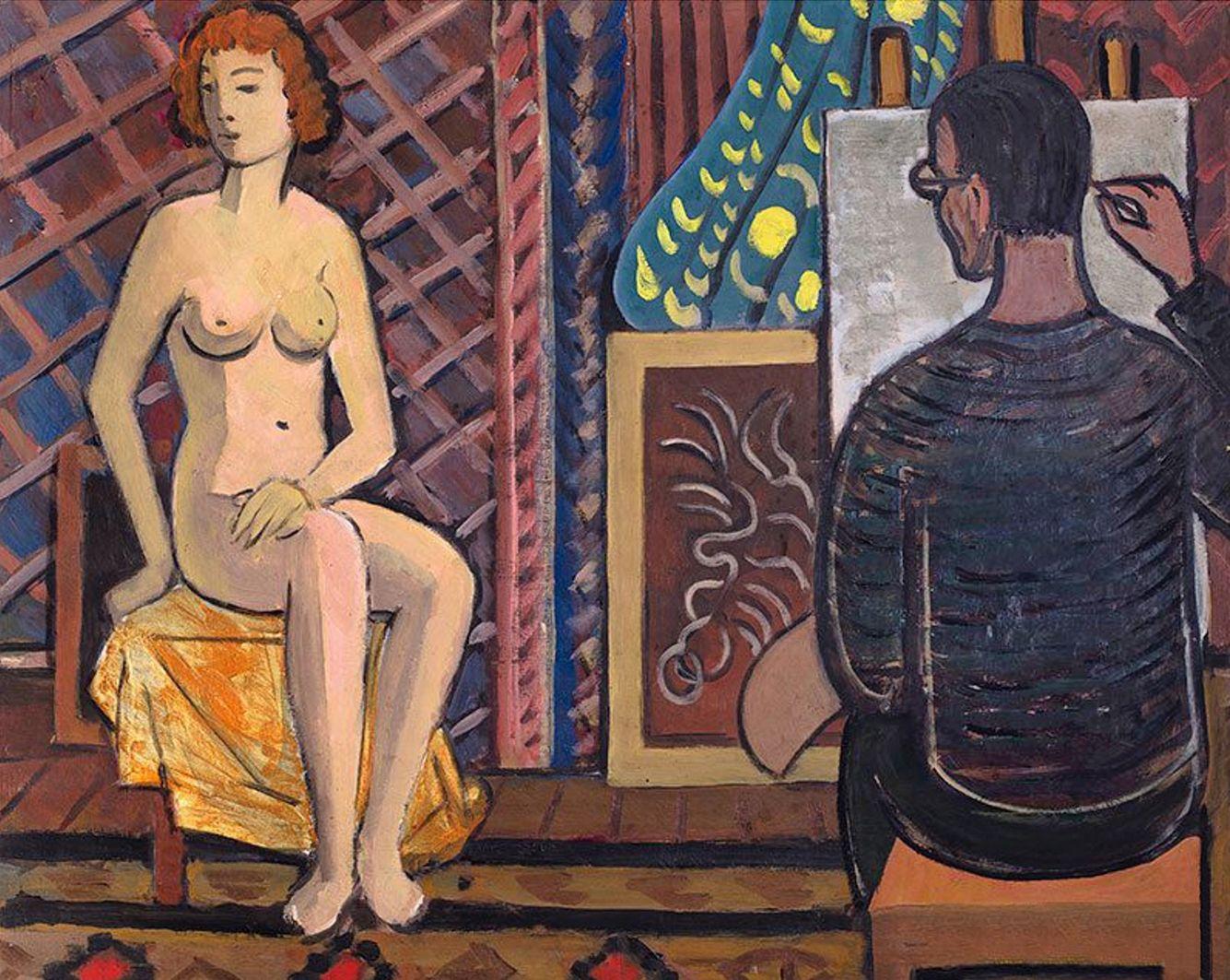 Тимон Нешеловський. Художник і модель, 1957; олія, полотно