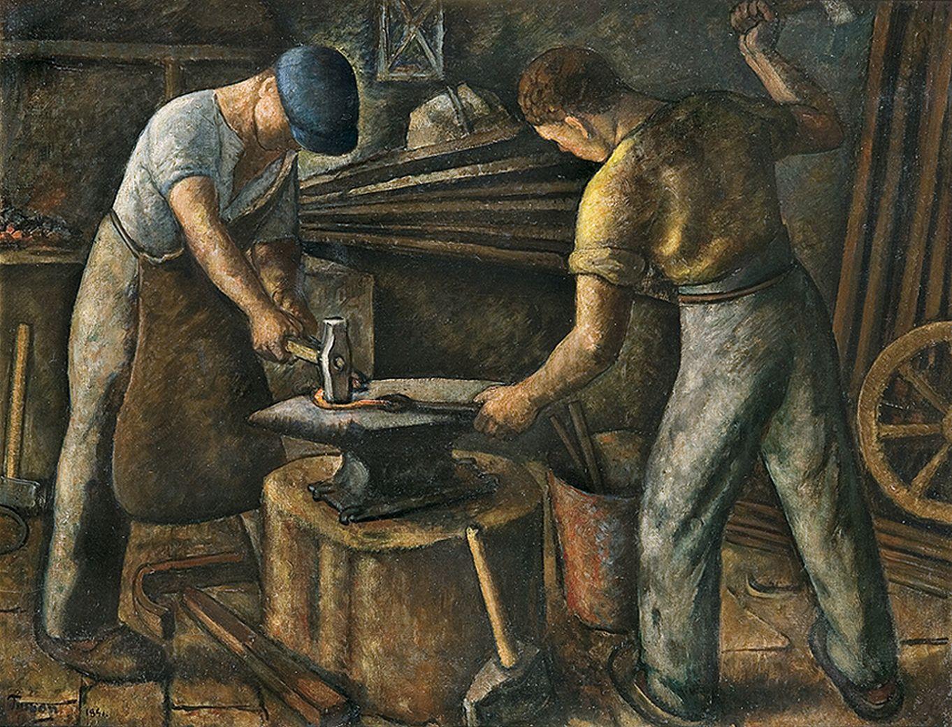 Тимон Нешеловський. В кузні, 1941; олія, полотно