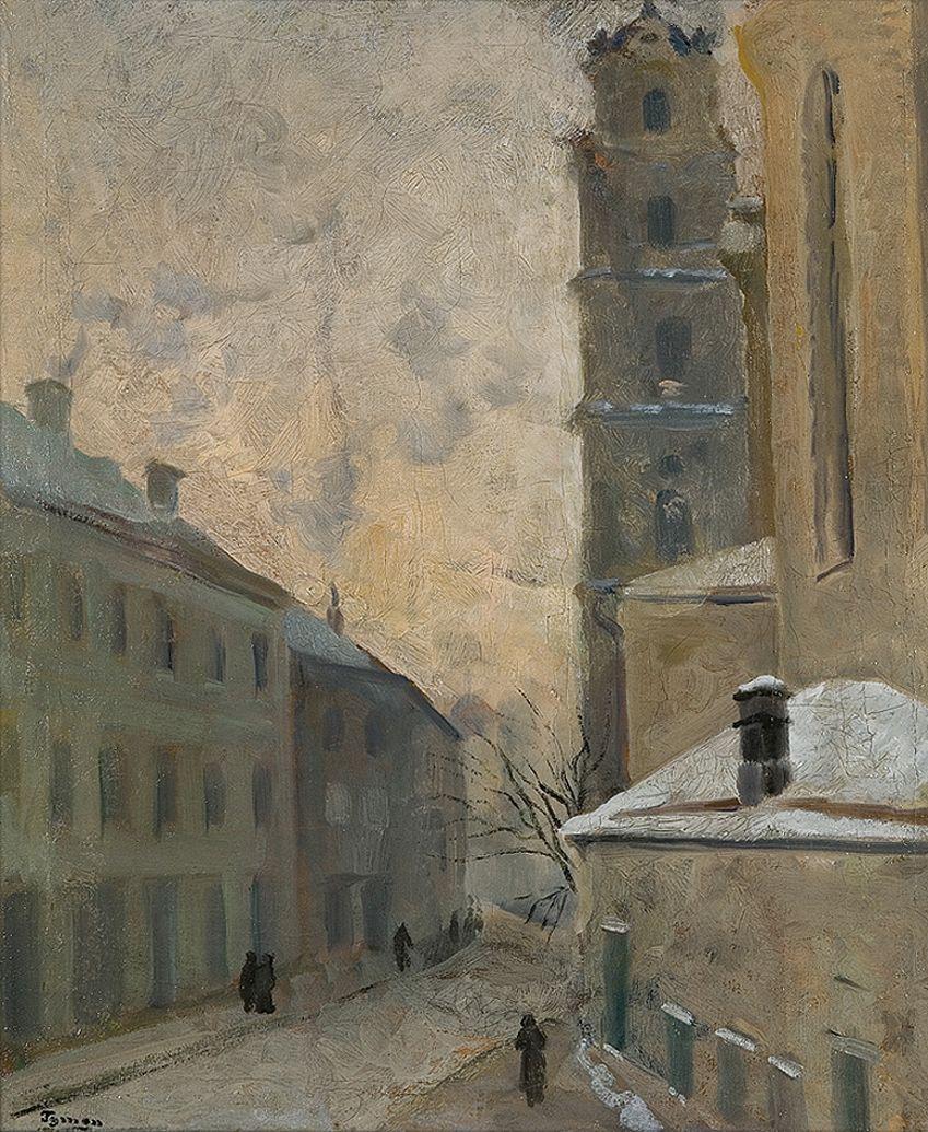 Тимон Нешеловський. Зимовий ранок. Вільнюс, 1936; олія, полотно