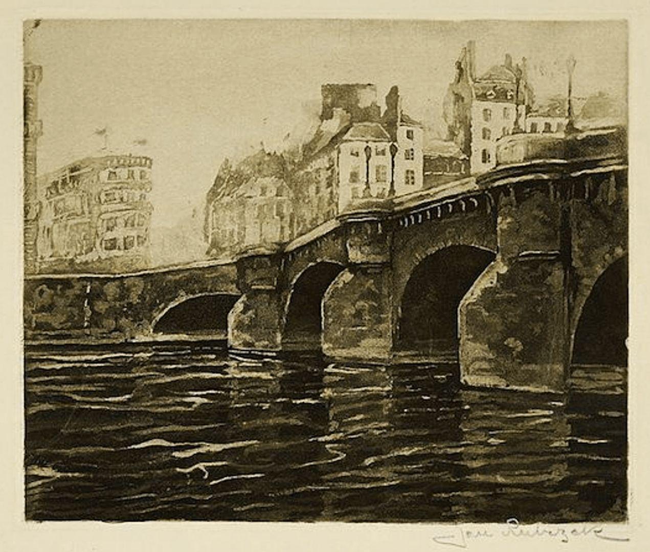 Ян Рубчак. Париж Понт Неф, 1912; акватинта