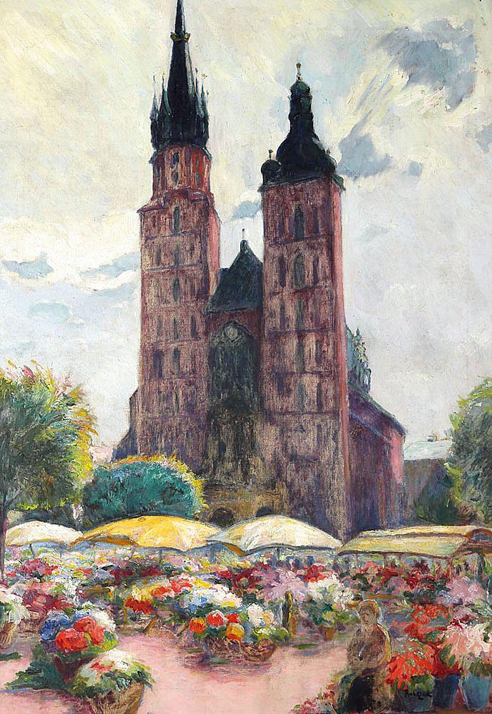 Ян Рубчак. Ринок квітів, 1934; олія, полотно