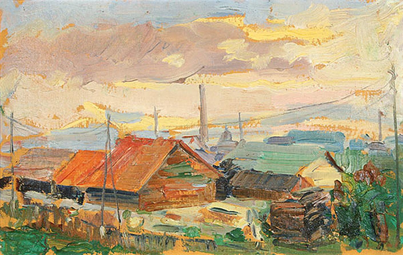Антін Павлось. Сільський пейзаж; олія, полотно