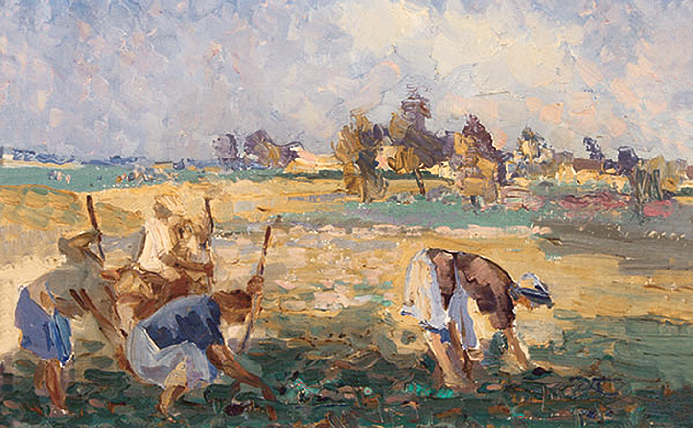 Антін Павлось. На работах в полі; олія, полотно