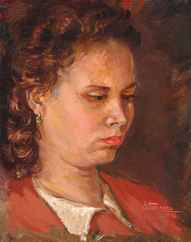 Антін Павлось. Жіночий портрет, 1946; олія, полотно