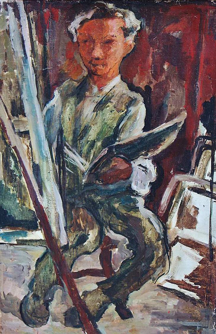 Давід Сейфер. Автопортрет з мольбертом, 1926; олія, полотно