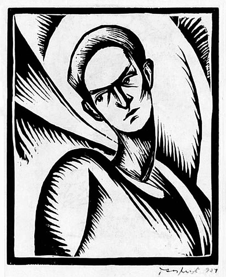 Давід Сейфер. Бюст чоловіка, 1927 дереворит