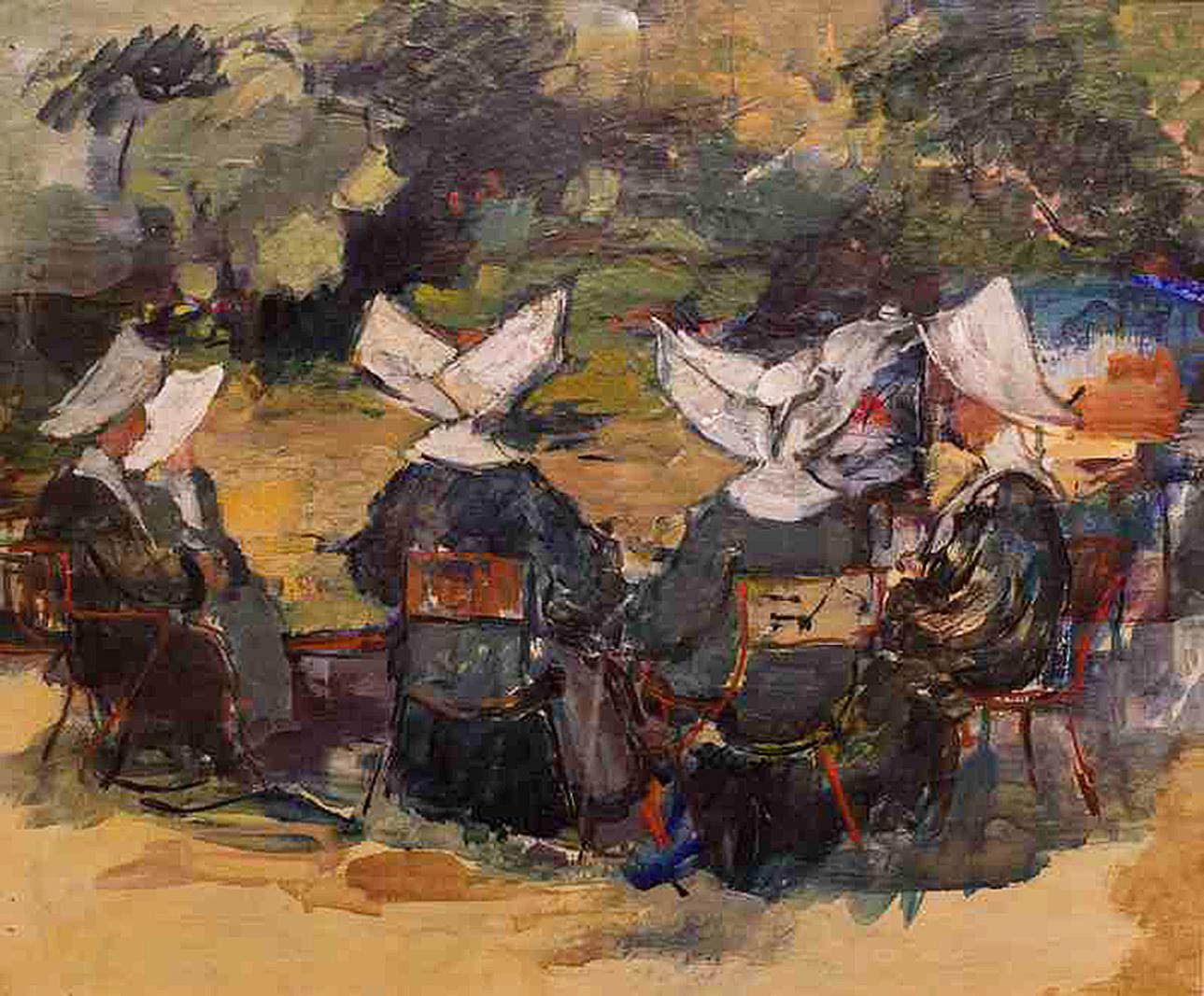 Давід Сейфер. Монахині за столом; олія, полотно