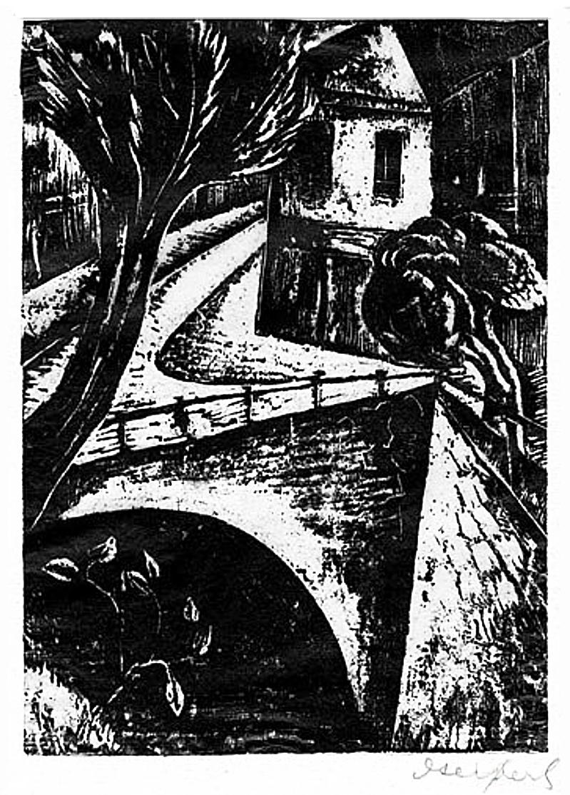 Давід Сейфер. Пейзаж з мостом, 1925, дереворит