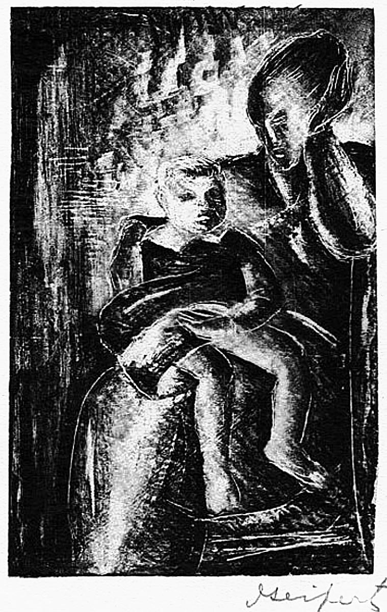 Давід Сейфер. Жінка з дитиною, 1925, дереворит