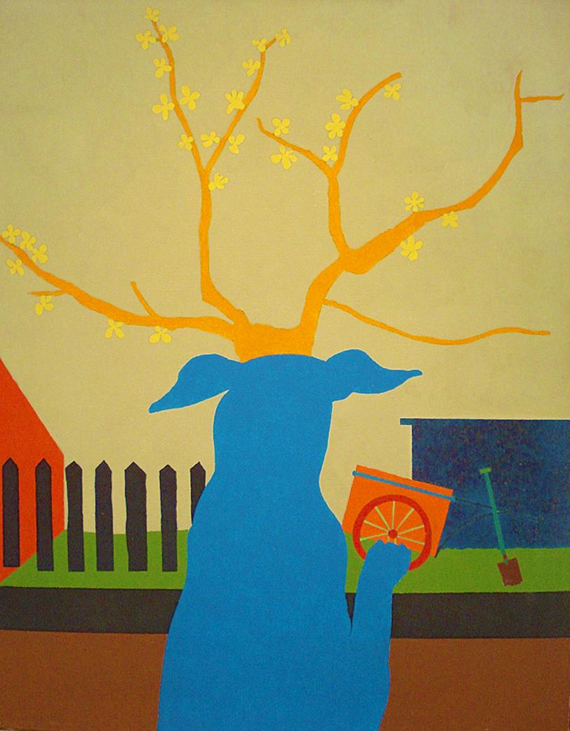 Емануель Проуллер. Голуба собака біля вікна, 1964; олія, полотно