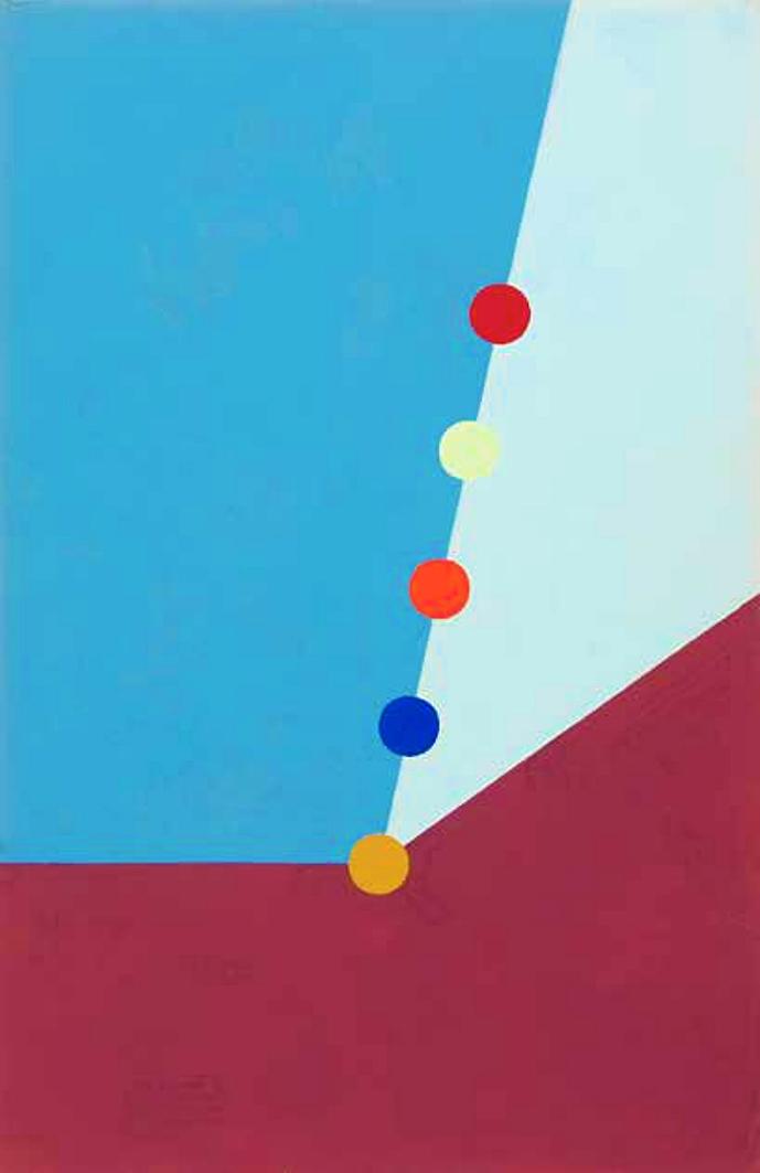Емануель Проуллер. П'ять кіл під нахилом, 1960; картон, гуаш