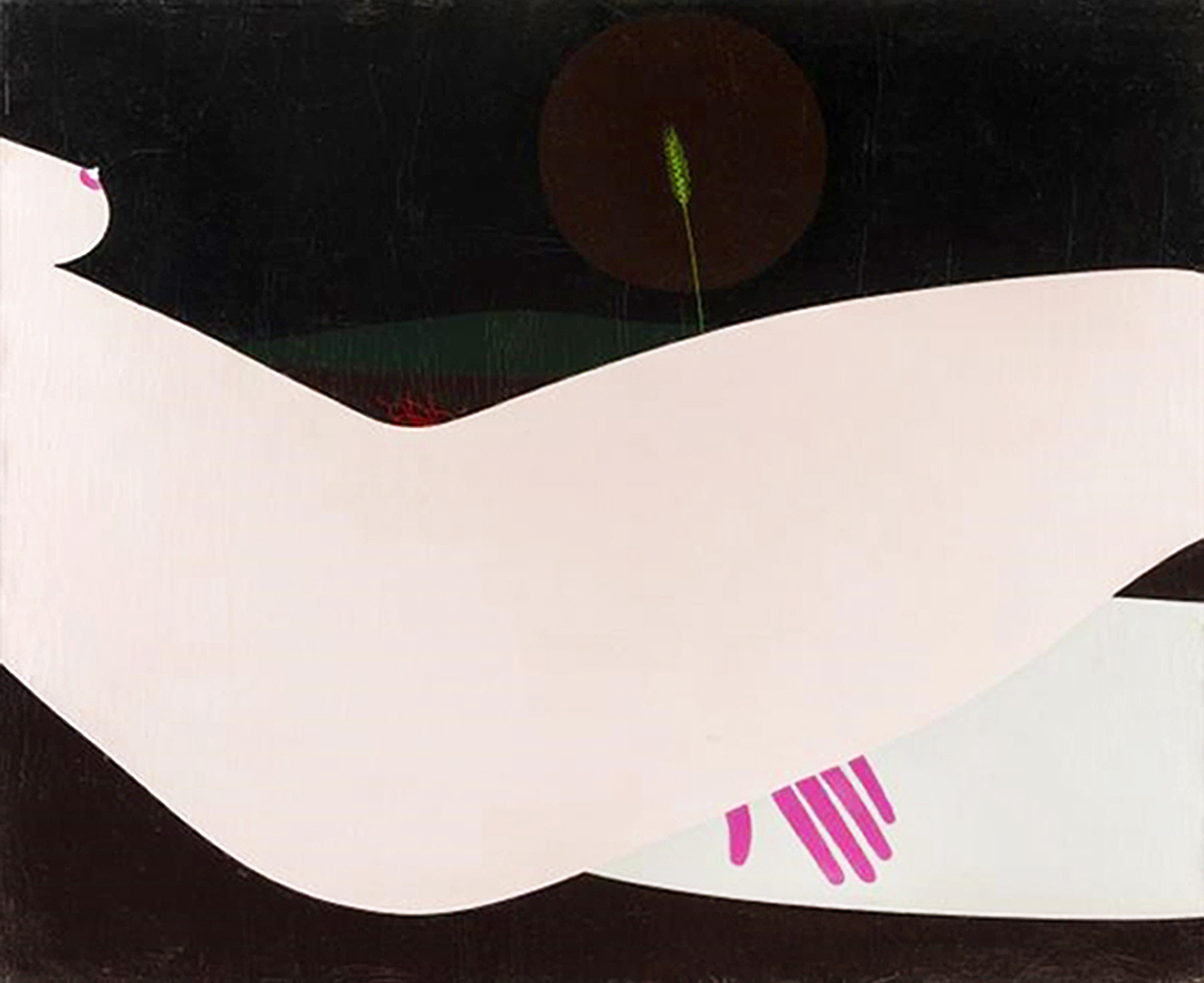 Емануель Проуллер. Рожевий місяць, 1980; олія, полотно
