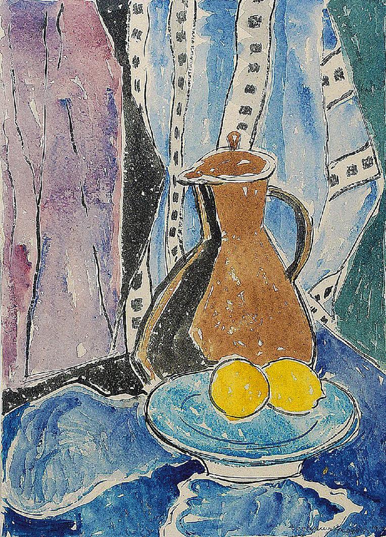 Євген Гепперт. Глечик з лимонами, 1957; папір, акварель