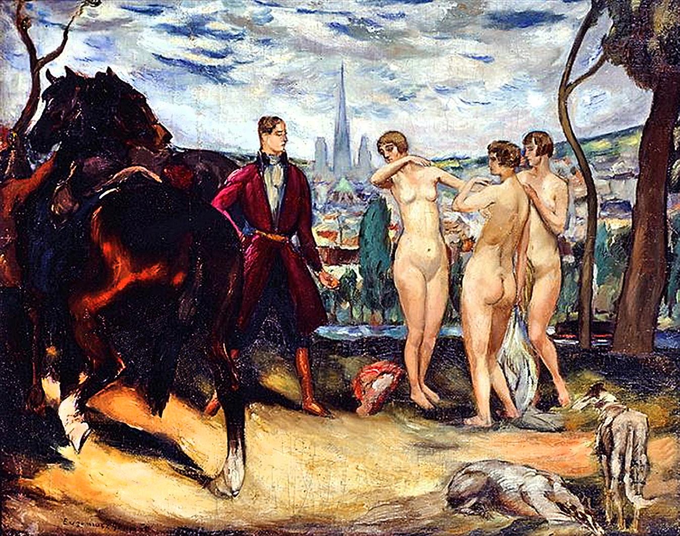 Євген Гепперт. Мисливець та три грації, 1920-ті; полотно, олія
