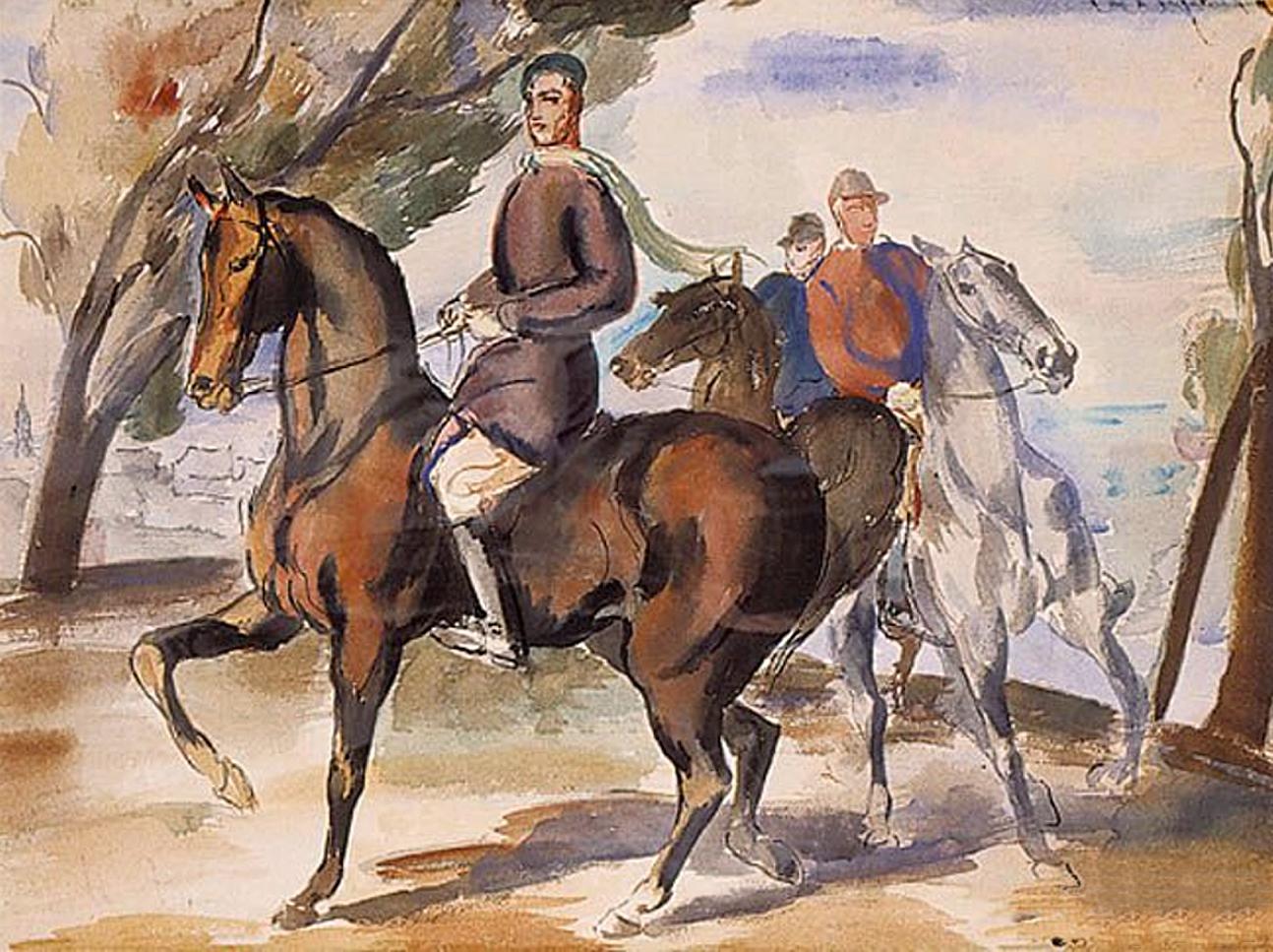 Євген Гепперт. На біговій доріжці, 1931; папір, акварель