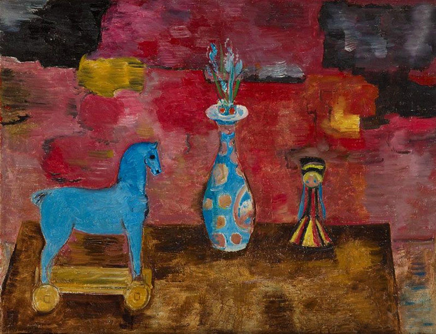 Євген Гепперт. Натюрморт з голубим коником, 1977; полотно, олія