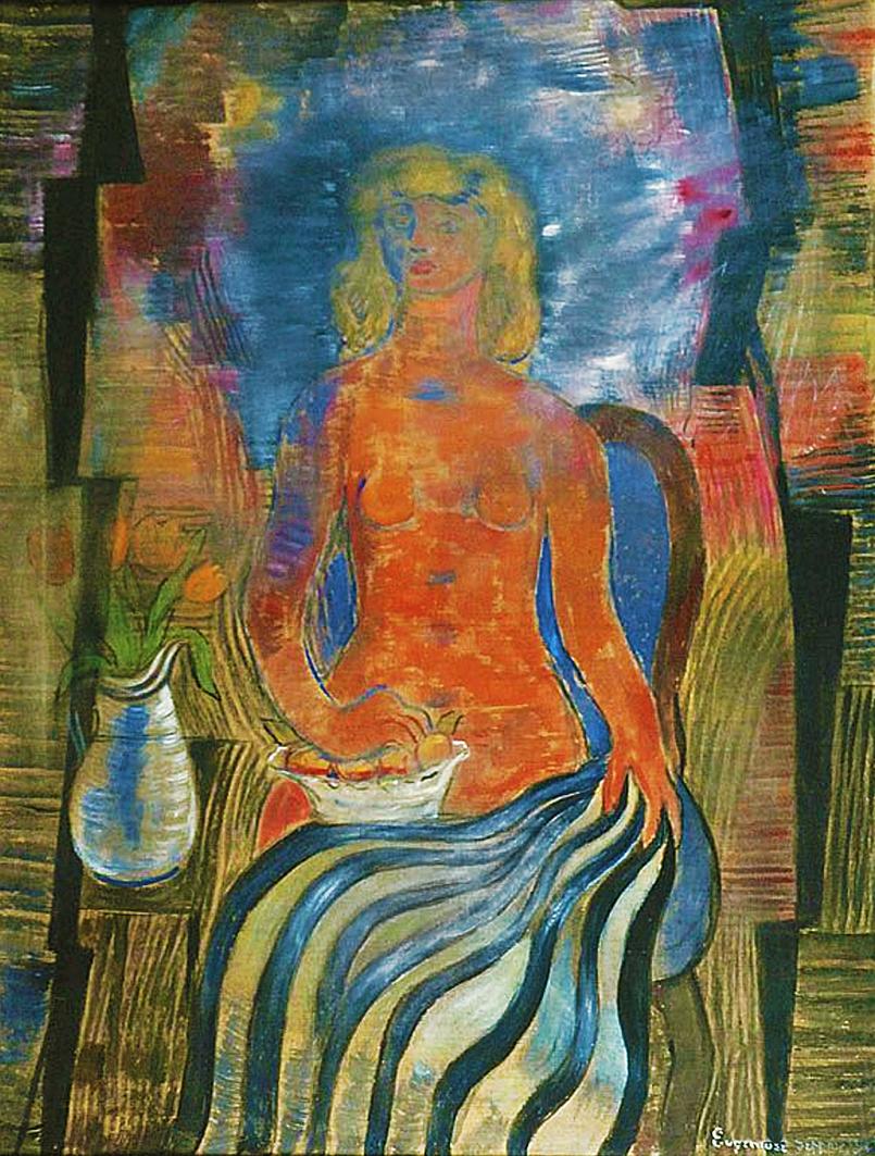 Євген Гепперт. Ню з квіткою, 1975; полотно, олія