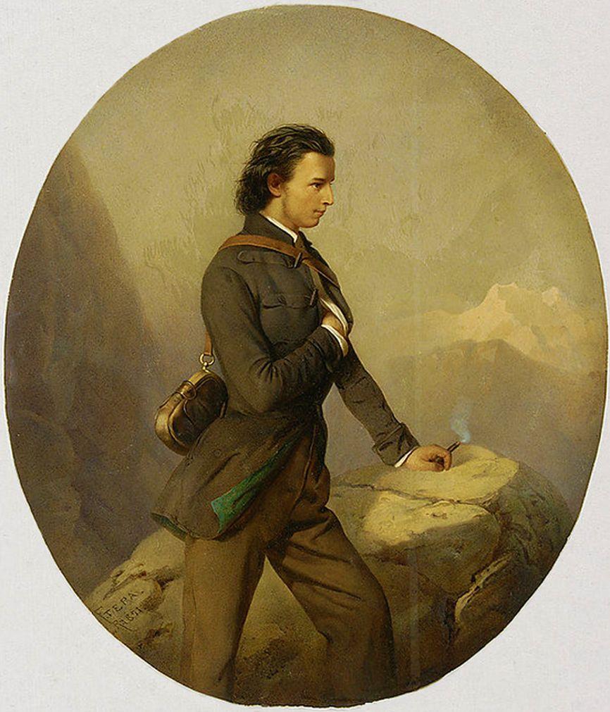 Францішек Томаш Тепа. Автопортрет на скелі, 1851; картон, акварель, гуаш; NMW