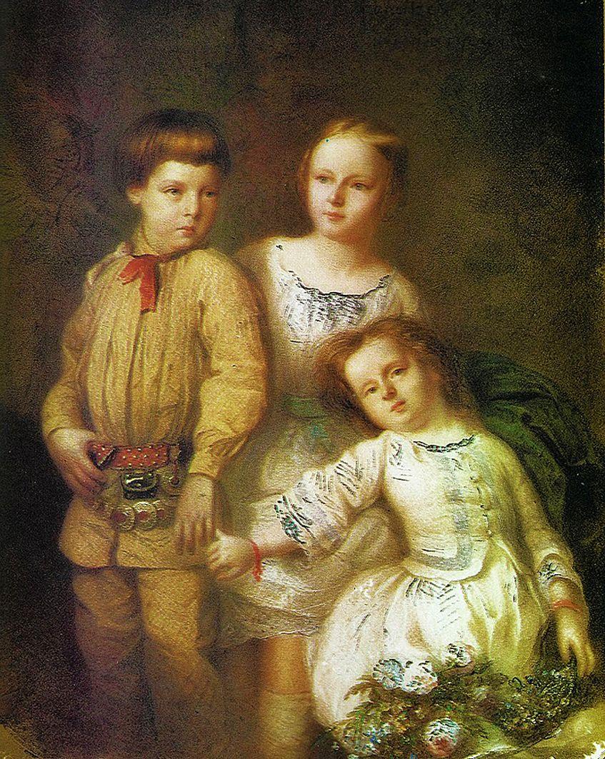 Францішек Томаш Тепа. Діти Артур, Роза, Софія Потоцькі, 1855; полотно, олія