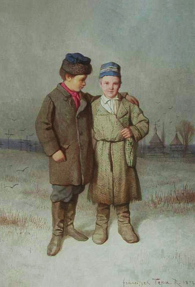 Францішек Томаш Тепа. Діти зі школи в околиці Золочева, 1873