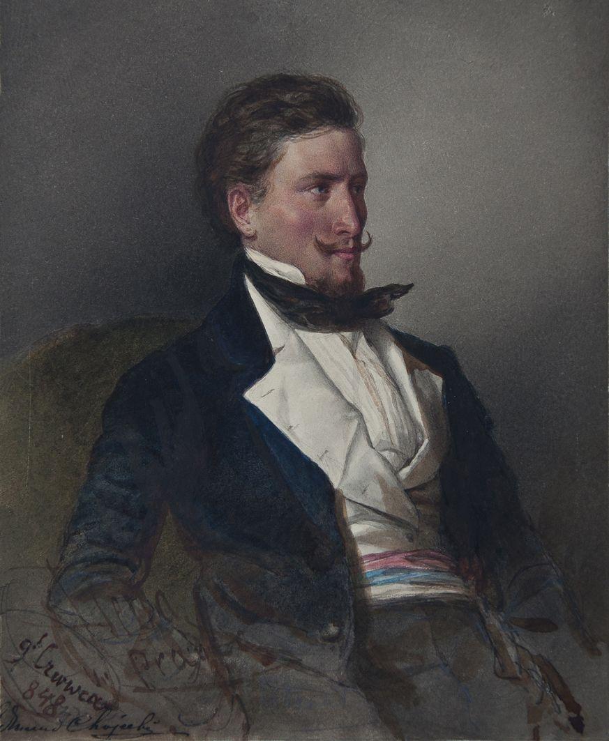 Францішек Томаш Тепа. Портрет, 1848; картон, акварель