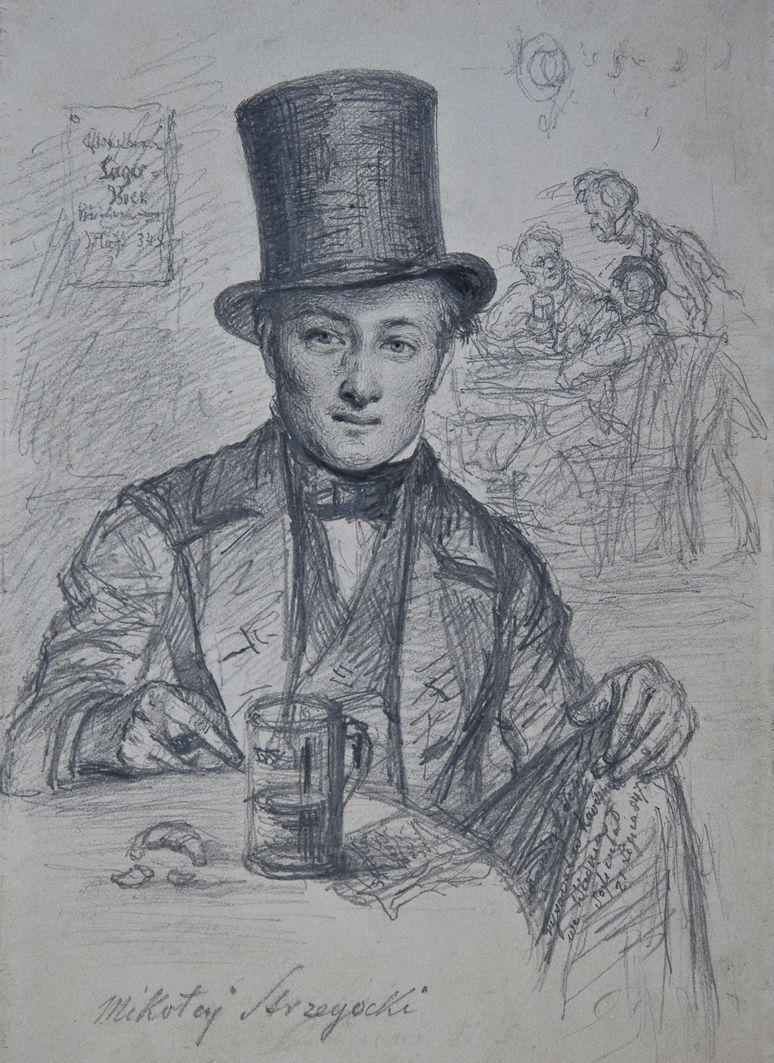 Францішек Томаш Тепа. Портрет з кухлем пива, 1847; папір, олівець