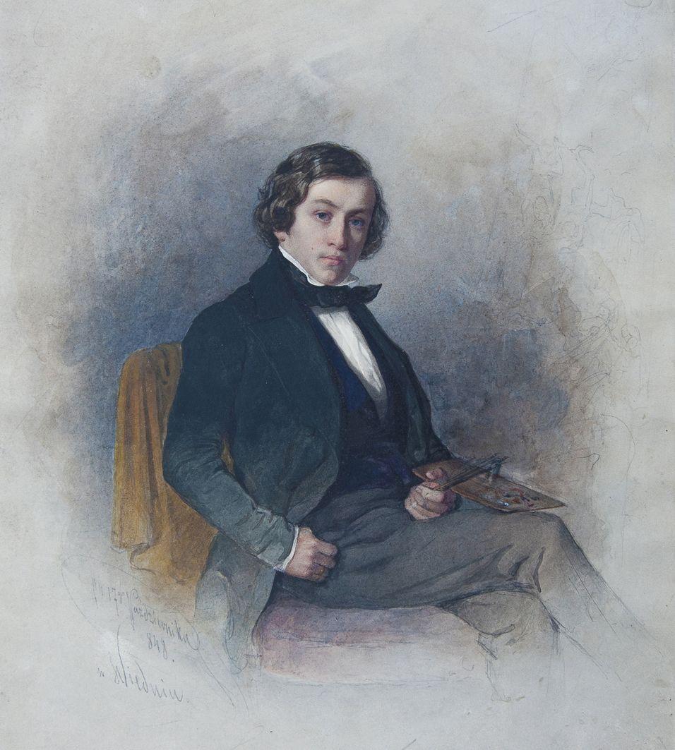 Францішек Томаш Тепа. Портрет з палітрою, 1848; папір, акварель