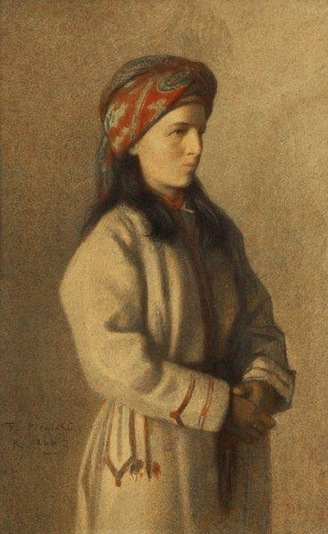 Францішек Томаш Тепа. Селянка у хустці, 1866; папір пастель