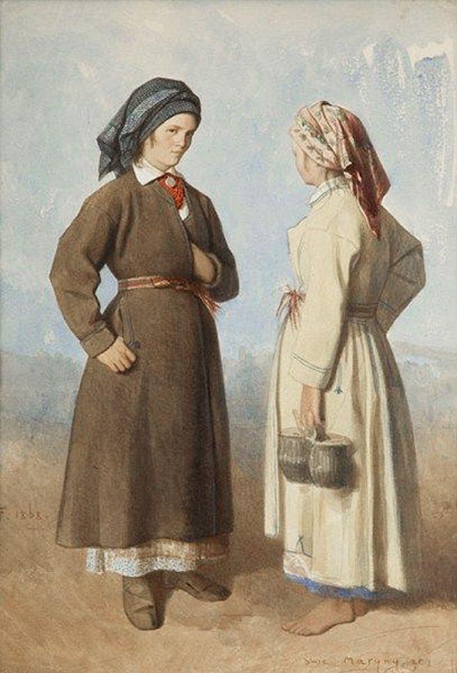 Францішек Томаш Тепа. Селянки зі Скоморох (Сокаль), 1868; папір, акварель